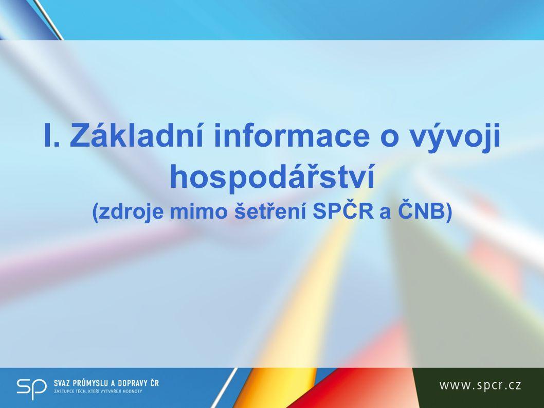 I. Základní informace o vývoji hospodářství (zdroje mimo šetření SPČR a ČNB)