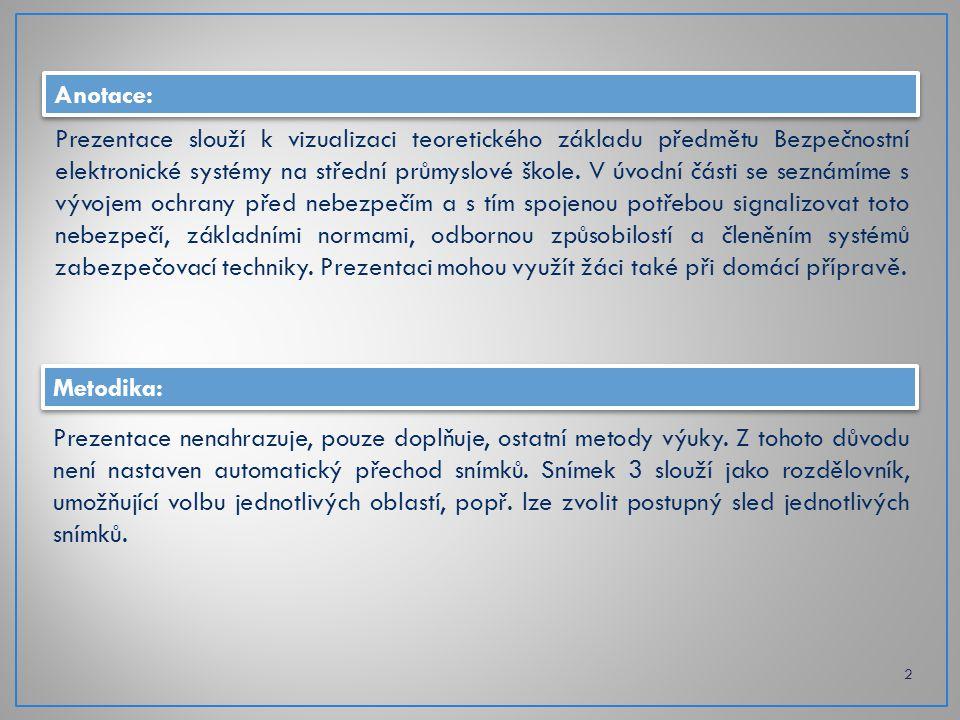 HistorieOborové normyOdborná způsobilostPředpisová základna Úvod do problematiky poplachových systémů 3