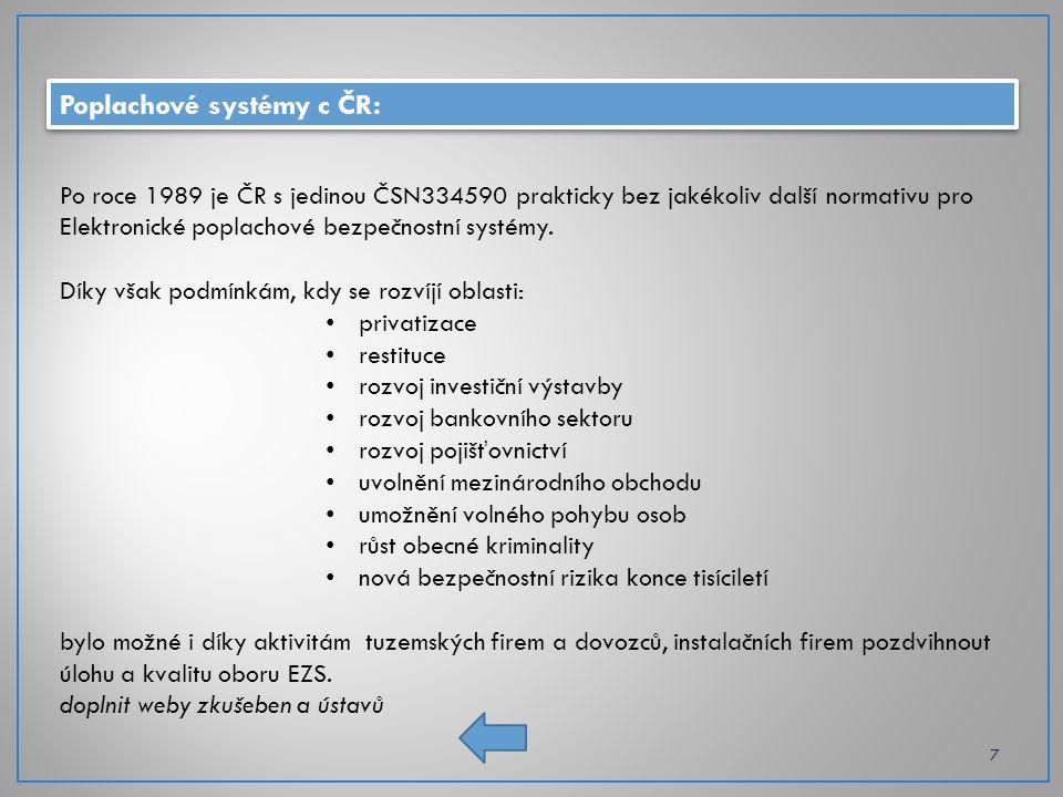 """Předpisy poplachových systémů: 8 Evropská unie směrnice Evropských společenství – závazné pro výrobce, dovozce a distributory Evropské harmonizované normy – nejsou závazné, nicméně se berou """"automaticky CEN – Evropský výbor pro normalizaci European Committee for Standardization CENELEC – Evropský výbor pro normalizaci v elektrotechnice European Committee for Elektrotechnical Standarditazion Česká republika ČR je od roku 2004 plnoprávným členem EU, ctí linii základních legislativních požadavků na výrobu, instalaci a provoz zařízení, která jsou obvyklá v EU."""