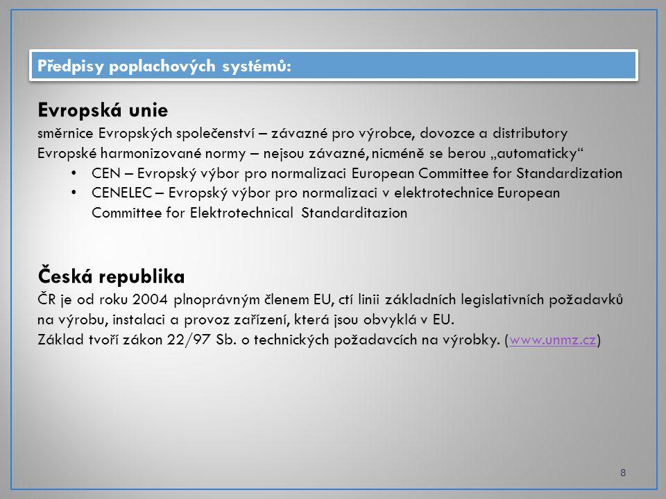 Předpisy poplachových systémů: 8 Evropská unie směrnice Evropských společenství – závazné pro výrobce, dovozce a distributory Evropské harmonizované n