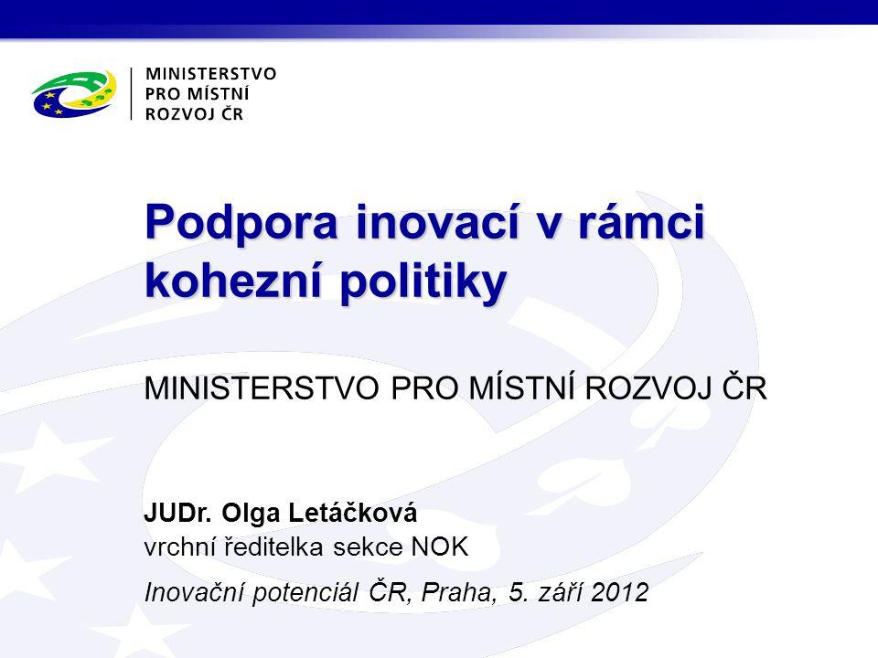 """Podpora inovací v programovém období 2007–2013 OP Podnikání a inovace (prioritní osa """"Inovace )  Alokace na prioritní osu: 23,2 mld."""