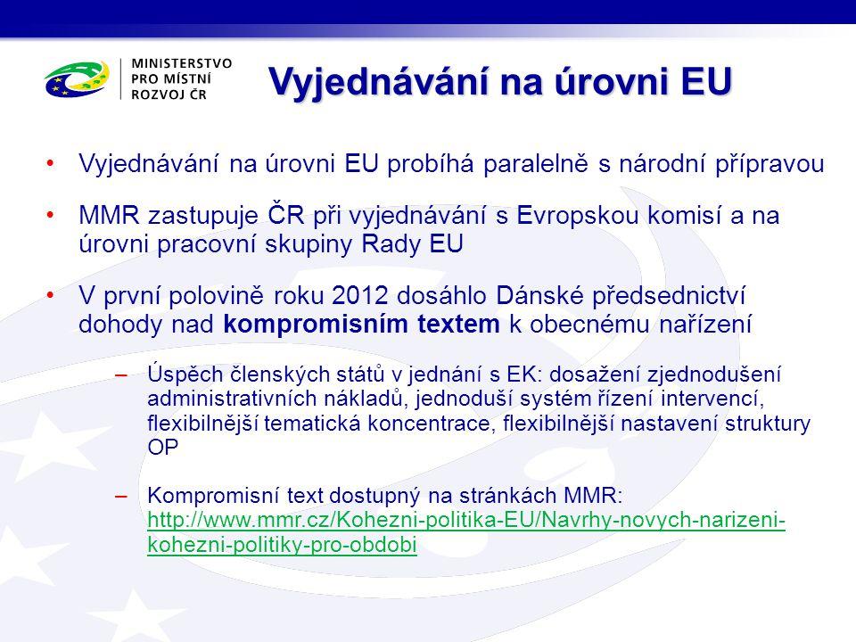 Vyjednávání na úrovni EU probíhá paralelně s národní přípravou MMR zastupuje ČR při vyjednávání s Evropskou komisí a na úrovni pracovní skupiny Rady E