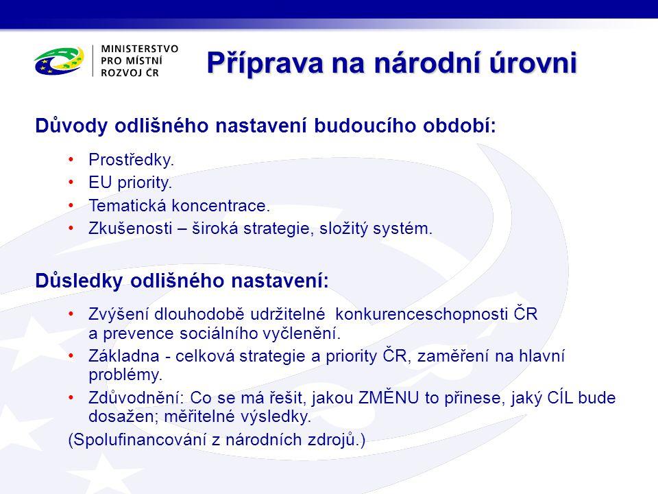 Důvody odlišného nastavení budoucího období: Prostředky. EU priority. Tematická koncentrace. Zkušenosti – široká strategie, složitý systém. Důsledky o