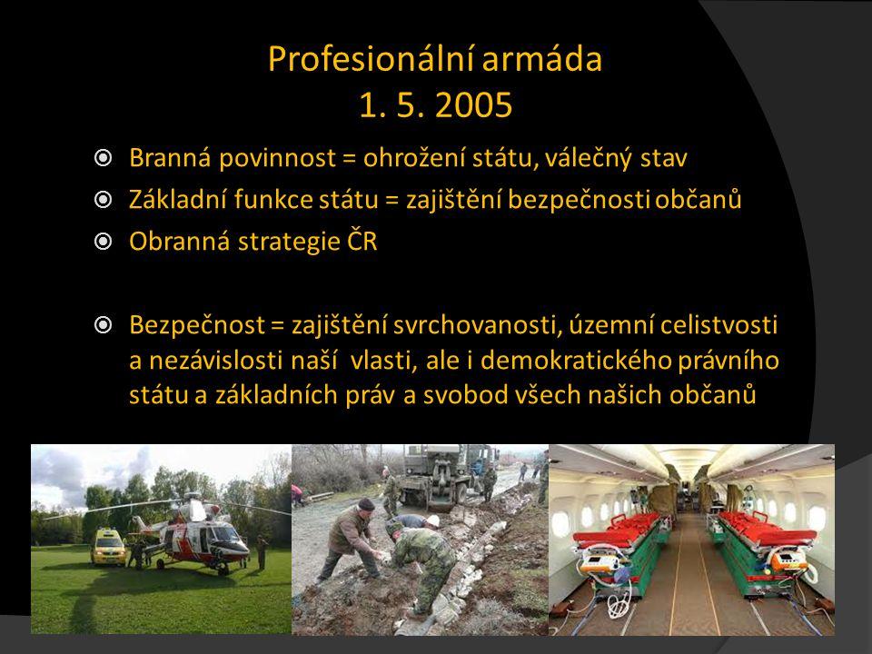 Profesionální armáda 1. 5. 2005  Branná povinnost = ohrožení státu, válečný stav  Základní funkce státu = zajištění bezpečnosti občanů  Obranná str