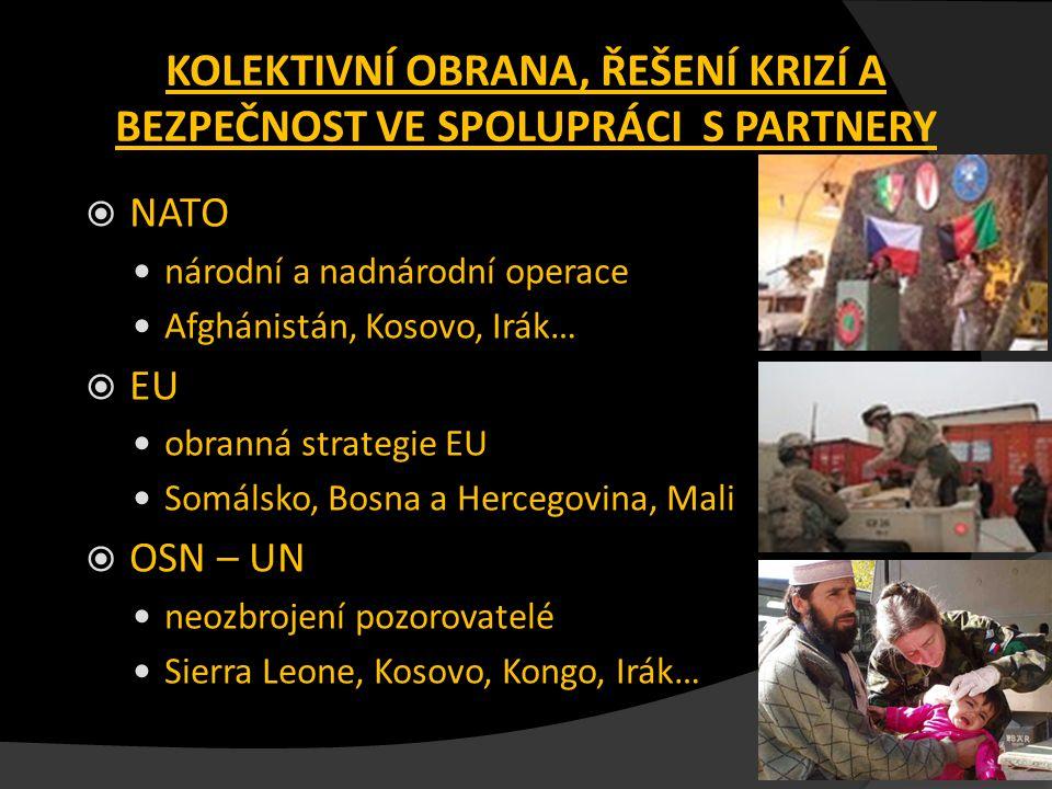 KOLEKTIVNÍ OBRANA, ŘEŠENÍ KRIZÍ A BEZPEČNOST VE SPOLUPRÁCI S PARTNERY  NATO národní a nadnárodní operace Afghánistán, Kosovo, Irák…  EU obranná stra