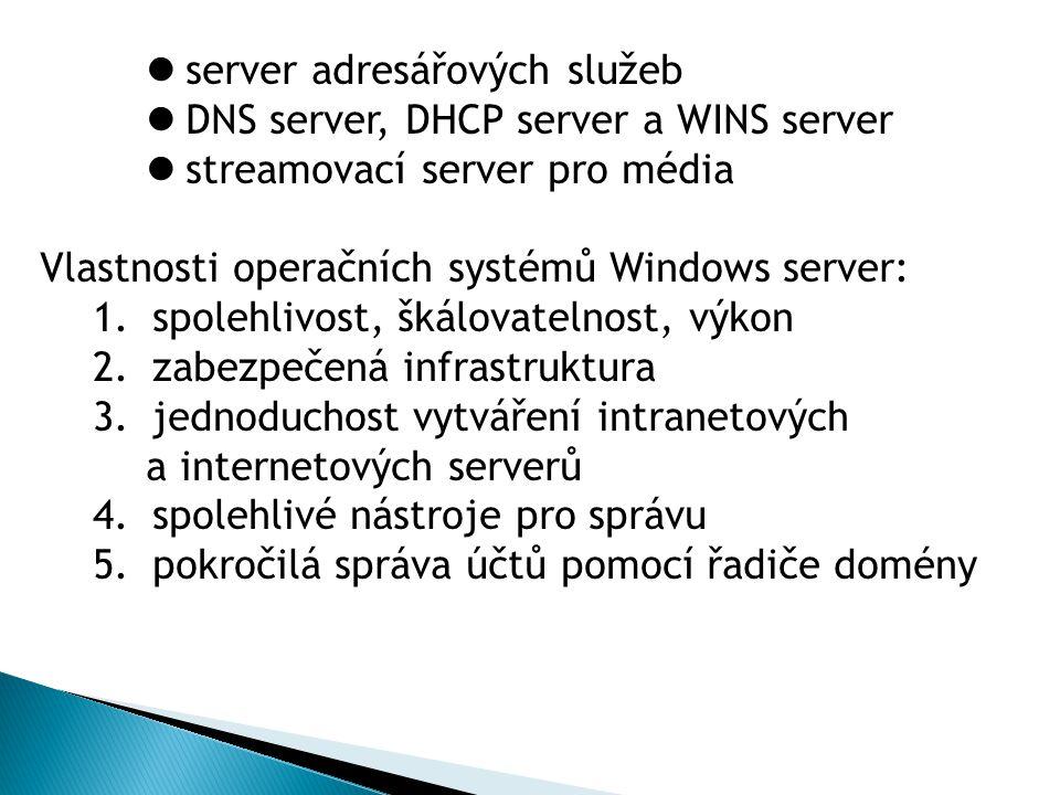 server adresářových služeb DNS server, DHCP server a WINS server streamovací server pro média Vlastnosti operačních systémů Windows server: 1.spolehli