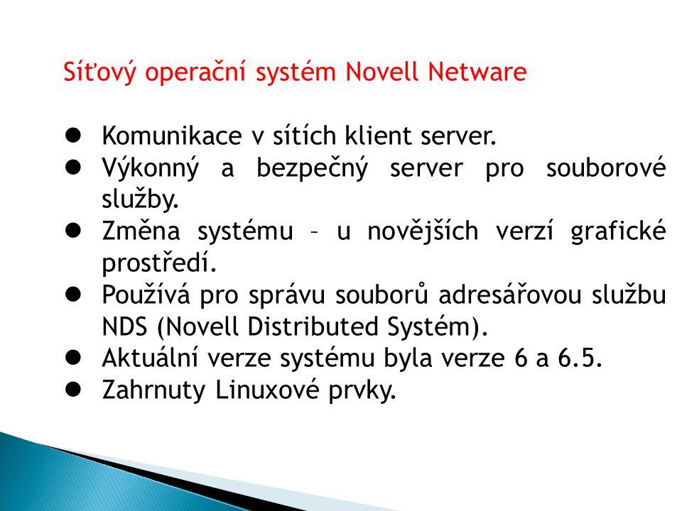 Síťový operační systém Novell Netware Komunikace v sítích klient server. Výkonný a bezpečný server pro souborové služby. Změna systému – u novějších v
