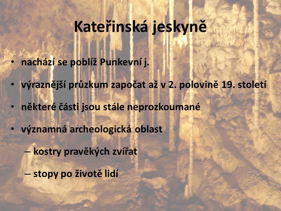Kateřinská jeskyně nachází se poblíž Punkevní j. výraznější průzkum započat až v 2. polovině 19. století některé části jsou stále neprozkoumané význam