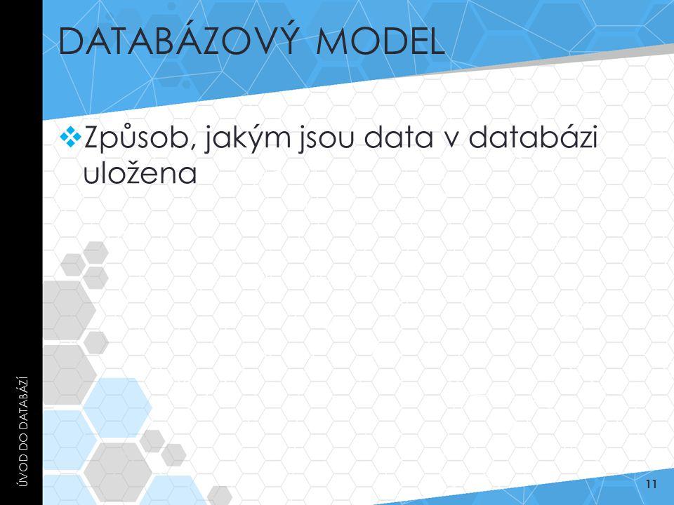 DATABÁZOVÝ MODEL  Způsob, jakým jsou data v databázi uložena ÚVOD DO DATABÁZÍ 11
