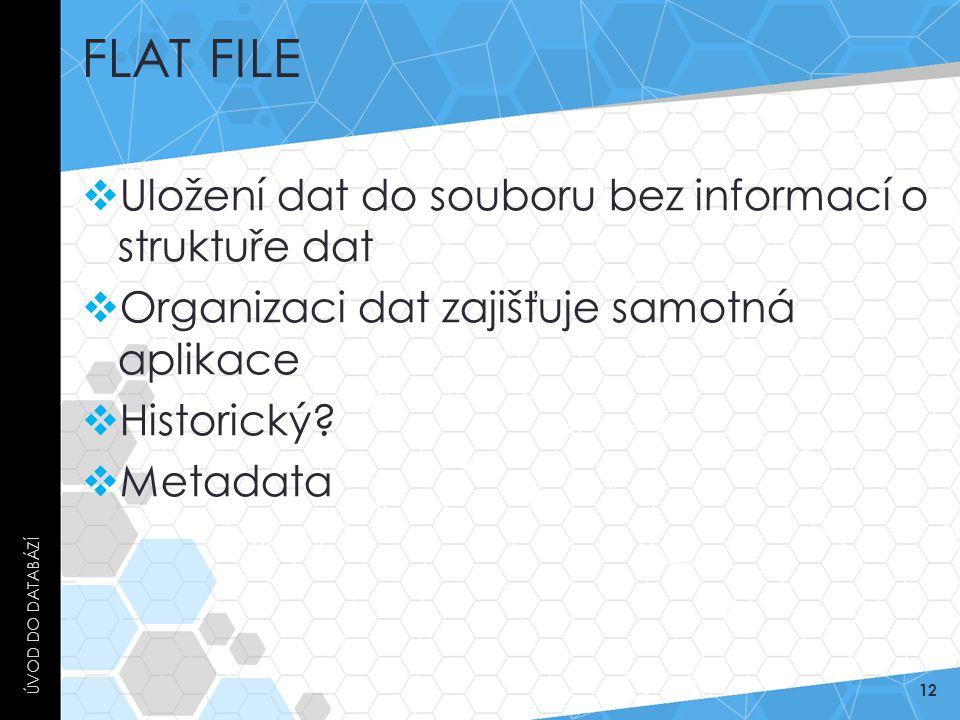 FLAT FILE  Uložení dat do souboru bez informací o struktuře dat  Organizaci dat zajišťuje samotná aplikace  Historický?  Metadata ÚVOD DO DATABÁZÍ