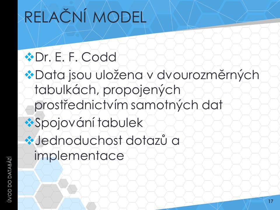 RELAČNÍ MODEL  Dr. E. F. Codd  Data jsou uložena v dvourozměrných tabulkách, propojených prostřednictvím samotných dat  Spojování tabulek  Jednodu