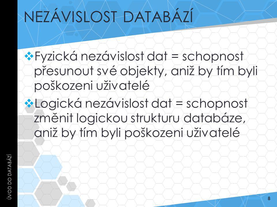 NEZÁVISLOST DATABÁZÍ  Fyzická nezávislost dat = schopnost přesunout své objekty, aniž by tím byli poškozeni uživatelé  Logická nezávislost dat = sch