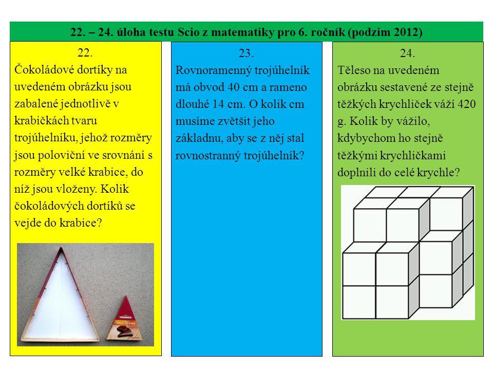 22. – 24. úloha testu Scio z matematiky pro 6. ročník (podzim 2012) 22. Čokoládové dortíky na uvedeném obrázku jsou zabalené jednotlivě v krabičkách t