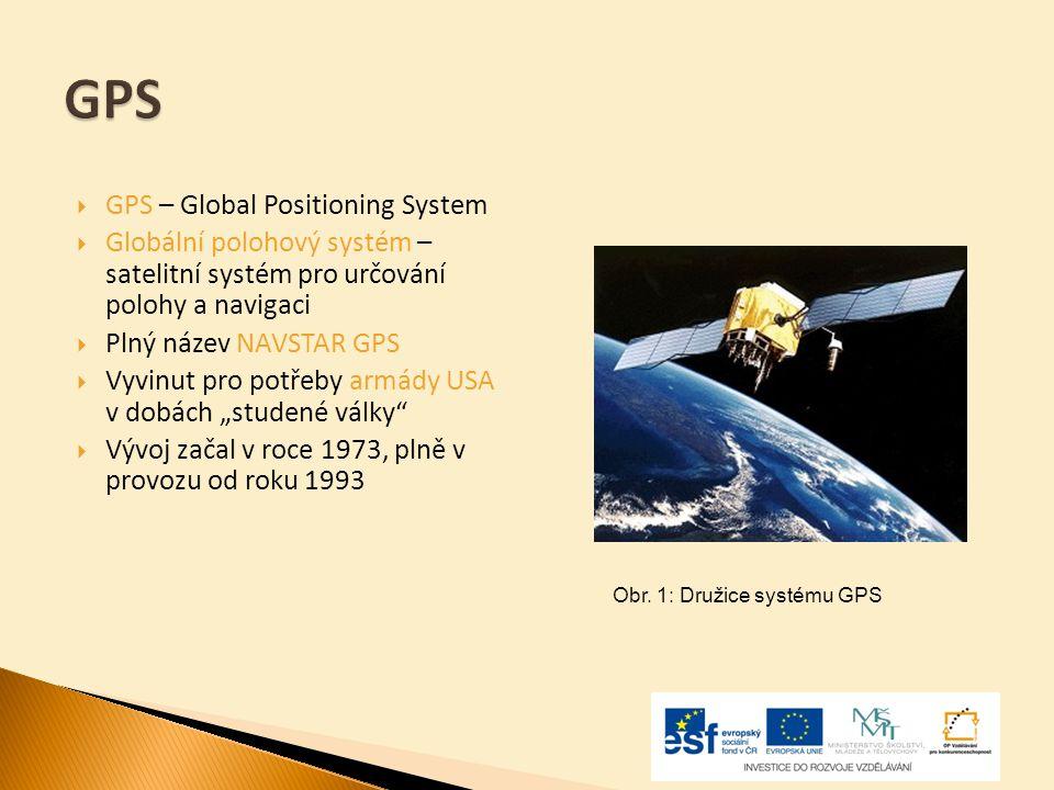  GPS – Global Positioning System  Globální polohový systém – satelitní systém pro určování polohy a navigaci  Plný název NAVSTAR GPS  Vyvinut pro