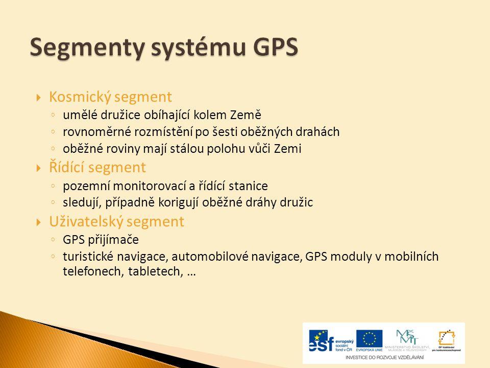 Segmenty systému GPS  Kosmický segment ◦ umělé družice obíhající kolem Země ◦ rovnoměrné rozmístění po šesti oběžných drahách ◦ oběžné roviny mají st