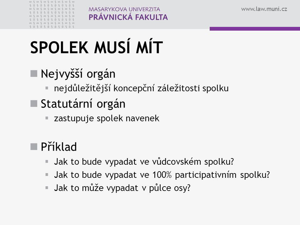 www.law.muni.cz SPOLEK MUSÍ MÍT Nejvyšší orgán  nejdůležitější koncepční záležitosti spolku Statutární orgán  zastupuje spolek navenek Příklad  Jak to bude vypadat ve vůdcovském spolku.