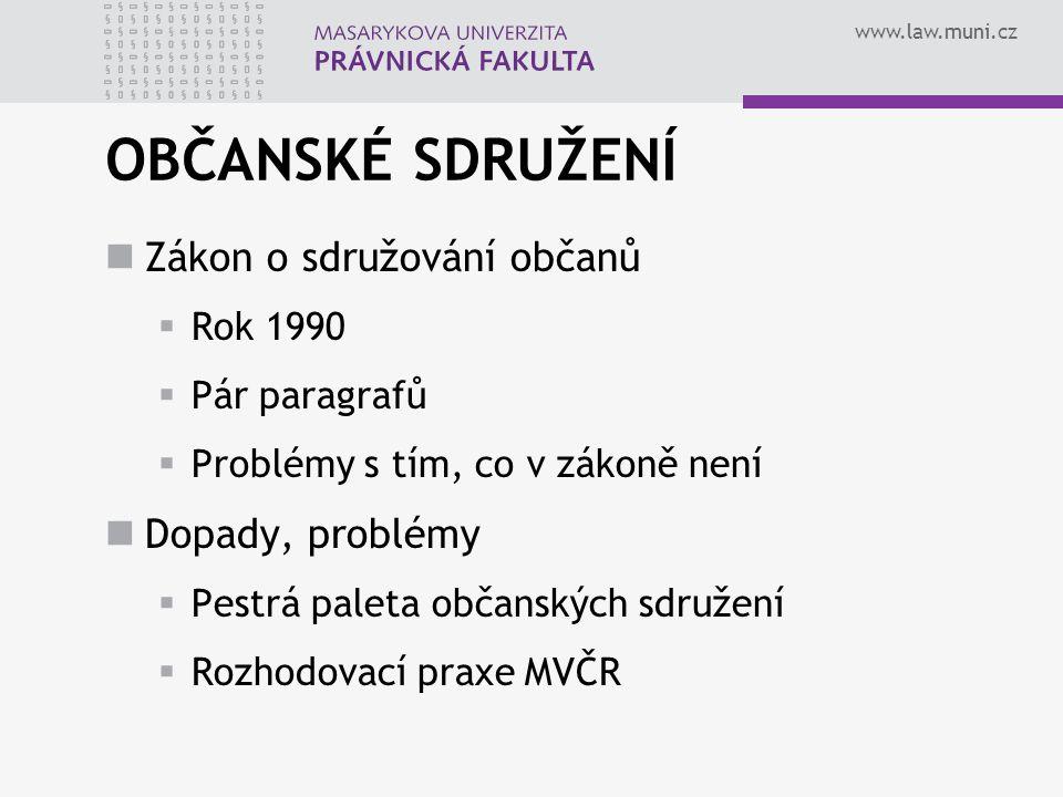 www.law.muni.cz OBČANSKÉ SDRUŽENÍ Zákon o sdružování občanů  Rok 1990  Pár paragrafů  Problémy s tím, co v zákoně není Dopady, problémy  Pestrá paleta občanských sdružení  Rozhodovací praxe MVČR