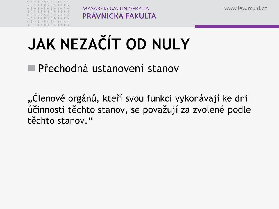 """www.law.muni.cz JAK NEZAČÍT OD NULY Přechodná ustanovení stanov """"Členové orgánů, kteří svou funkci vykonávají ke dni účinnosti těchto stanov, se považují za zvolené podle těchto stanov."""
