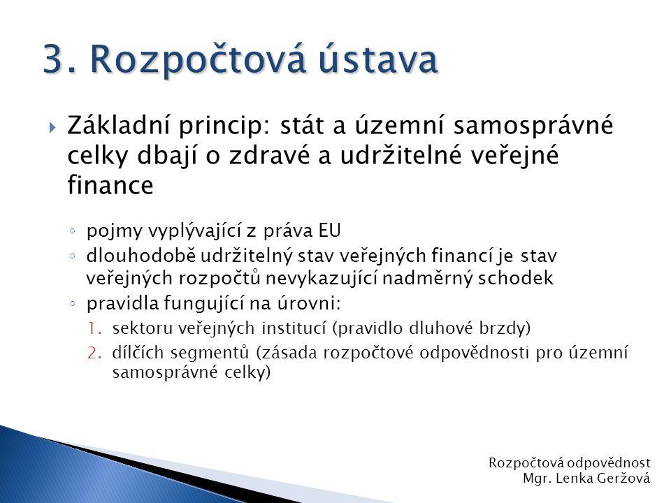  Základní princip: stát a územní samosprávné celky dbají o zdravé a udržitelné veřejné finance ◦ pojmy vyplývající z práva EU ◦ dlouhodobě udržitelný