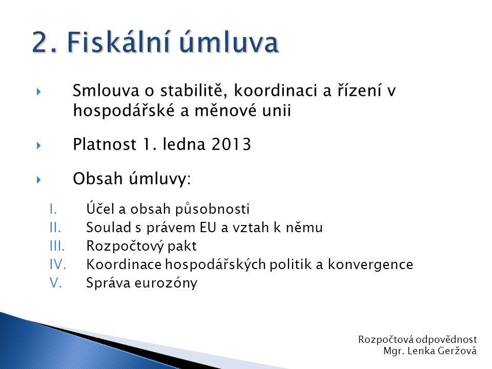 Smlouva o stabilitě, koordinaci a řízení v hospodářské a měnové unii  Platnost 1. ledna 2013  Obsah úmluvy: I.Účel a obsah působnosti II.Soulad s