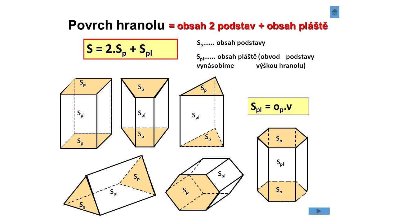 Vypočítej povrch (v dm 2 ) a objem (v litrech) pravidelného čtyřbokého hranolu s tělesovou výškou v = 12 cm a s podstavou tvaru kosočtverce s délkou strany a = 10 cm a výškou k ní příslušnou v a = 9,4 cm.