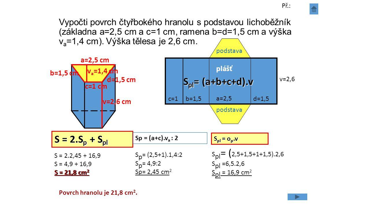Vypočti povrch čtyřbokého hranolu s podstavou lichoběžník (základna a=2,5 cm a c=1 cm, ramena b=d=1,5 cm a výška v a =1,4 cm). Výška tělesa je 2,6 cm.