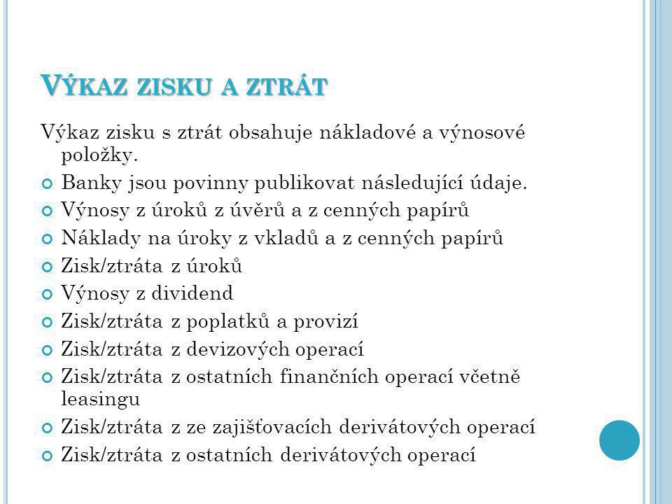 V ÝKAZ ZISKU A ZTRÁT Výkaz zisku s ztrát obsahuje nákladové a výnosové položky.