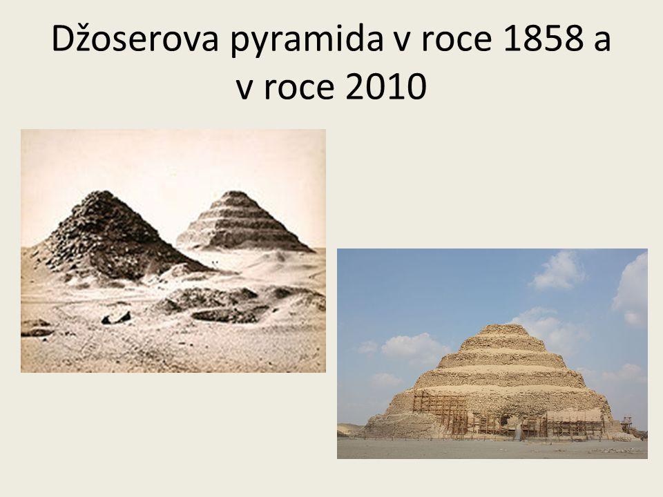 Džoserova pyramida v roce 1858 a v roce 2010