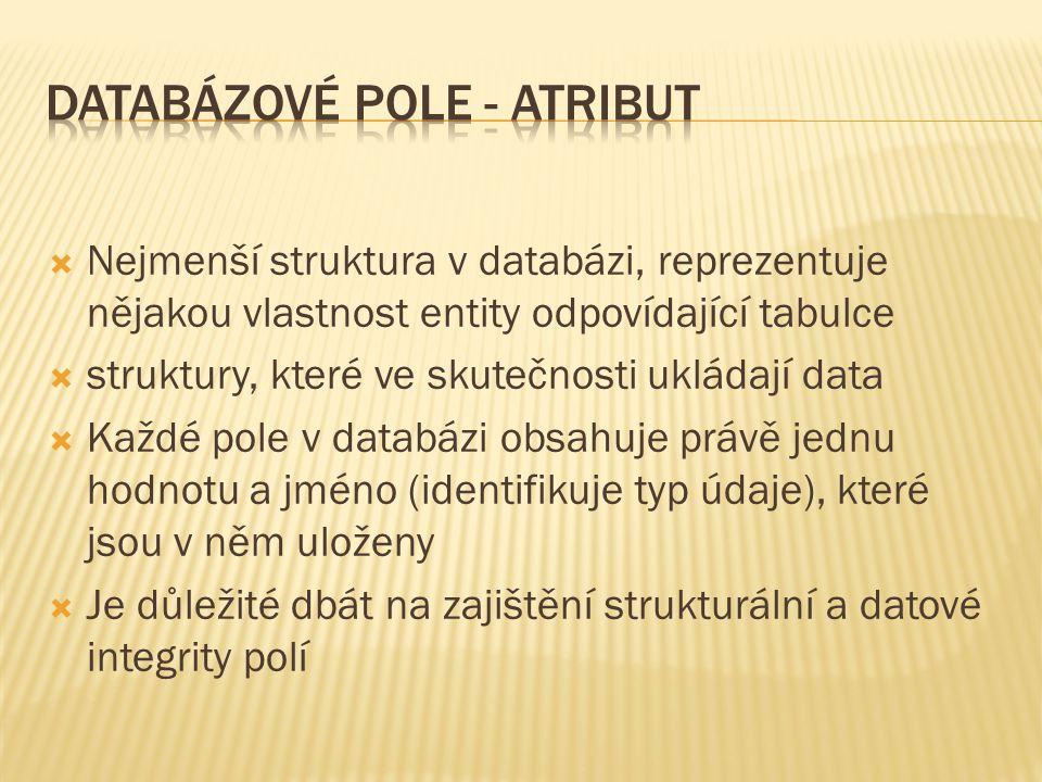  Nejmenší struktura v databázi, reprezentuje nějakou vlastnost entity odpovídající tabulce  struktury, které ve skutečnosti ukládají data  Každé pole v databázi obsahuje právě jednu hodnotu a jméno (identifikuje typ údaje), které jsou v něm uloženy  Je důležité dbát na zajištění strukturální a datové integrity polí
