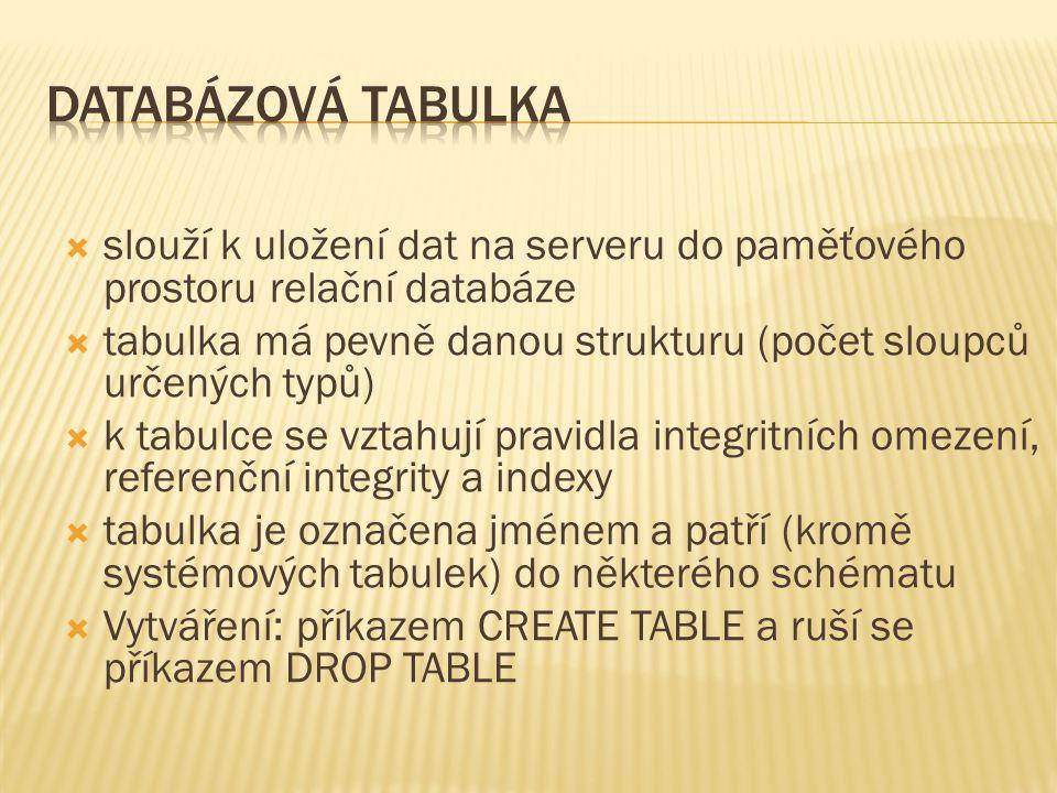  slouží k uložení dat na serveru do paměťového prostoru relační databáze  tabulka má pevně danou strukturu (počet sloupců určených typů)  k tabulce se vztahují pravidla integritních omezení, referenční integrity a indexy  tabulka je označena jménem a patří (kromě systémových tabulek) do některého schématu  Vytváření: příkazem CREATE TABLE a ruší se příkazem DROP TABLE