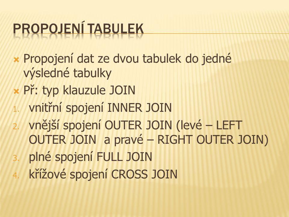  Propojení dat ze dvou tabulek do jedné výsledné tabulky  Př: typ klauzule JOIN 1.