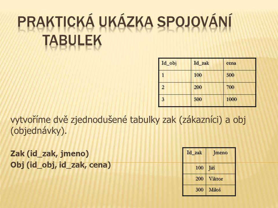 vytvoříme dvě zjednodušené tabulky zak (zákazníci) a obj (objednávky).