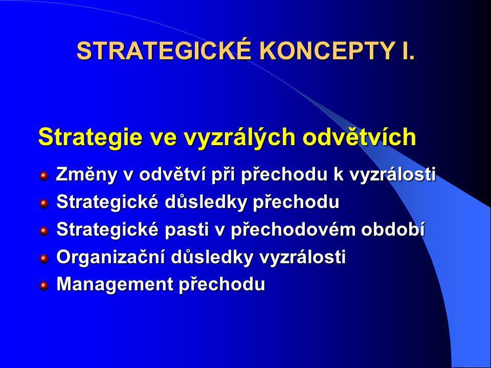 Strategie ve vyzrálých odvětvích Změny v odvětví při přechodu k vyzrálosti Strategické důsledky přechodu Strategické pasti v přechodovém období Organizační důsledky vyzrálosti Management přechodu STRATEGICKÉ KONCEPTY I.