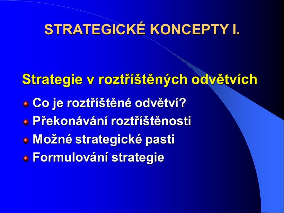 Strategie v roztříštěných odvětvích Co je roztříštěné odvětví? Překonávání roztříštěnosti Možné strategické pasti Formulování strategie STRATEGICKÉ KO