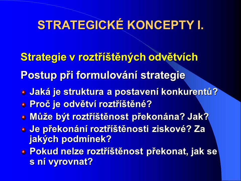 Strategie v roztříštěných odvětvích Postup při formulování strategie Jaká je struktura a postavení konkurentů? Proč je odvětví roztříštěné? Může být r