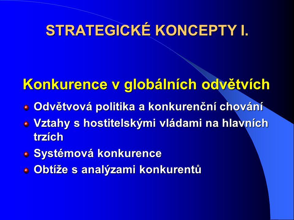 Konkurence v globálních odvětvích Odvětvová politika a konkurenční chování Vztahy s hostitelskými vládami na hlavních trzích Systémová konkurence Obtíže s analýzami konkurentů STRATEGICKÉ KONCEPTY I.