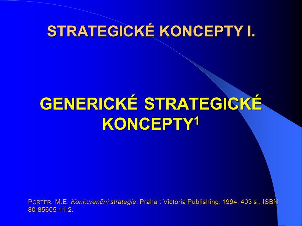STRATEGICKÉ KONCEPTY I. GENERICKÉ STRATEGICKÉ KONCEPTY 1 P ORTER, M.E. Konkurenční strategie. Praha : Victoria Publishing, 1994. 403 s., ISBN 80-85605