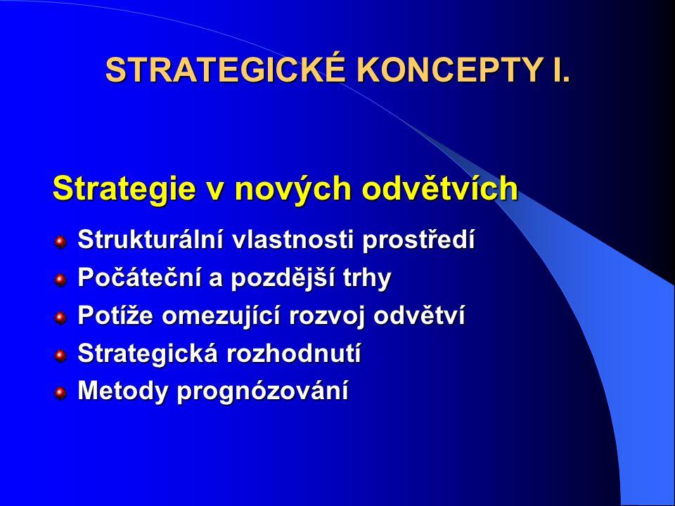 Strategie v nových odvětvích Strukturální vlastnosti prostředí Počáteční a pozdější trhy Potíže omezující rozvoj odvětví Strategická rozhodnutí Metody prognózování STRATEGICKÉ KONCEPTY I.