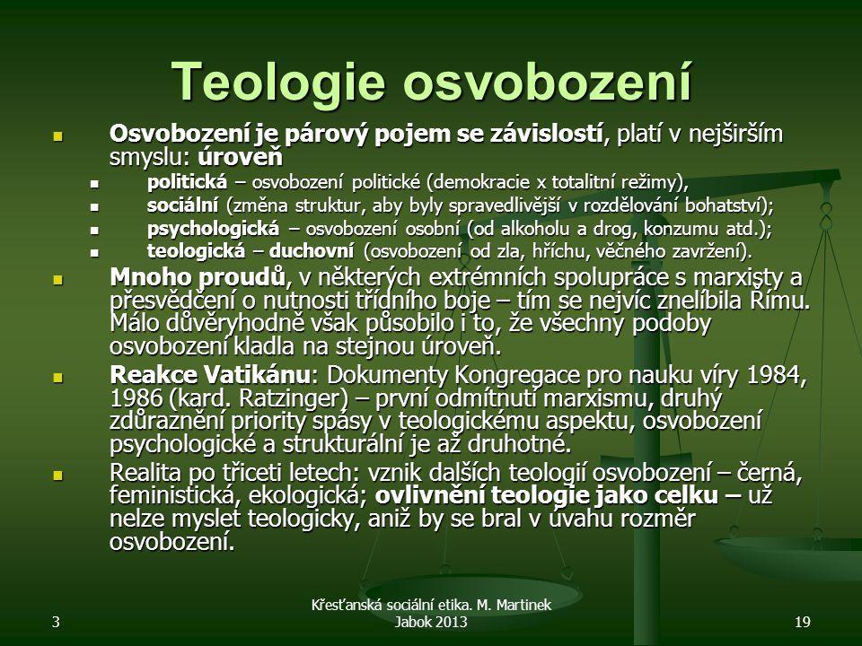 Teologie osvobození Osvobození je párový pojem se závislostí, platí v nejširším smyslu: úroveň Osvobození je párový pojem se závislostí, platí v nejširším smyslu: úroveň politická – osvobození politické (demokracie x totalitní režimy), politická – osvobození politické (demokracie x totalitní režimy), sociální (změna struktur, aby byly spravedlivější v rozdělování bohatství); sociální (změna struktur, aby byly spravedlivější v rozdělování bohatství); psychologická – osvobození osobní (od alkoholu a drog, konzumu atd.); psychologická – osvobození osobní (od alkoholu a drog, konzumu atd.); teologická – duchovní (osvobození od zla, hříchu, věčného zavržení).