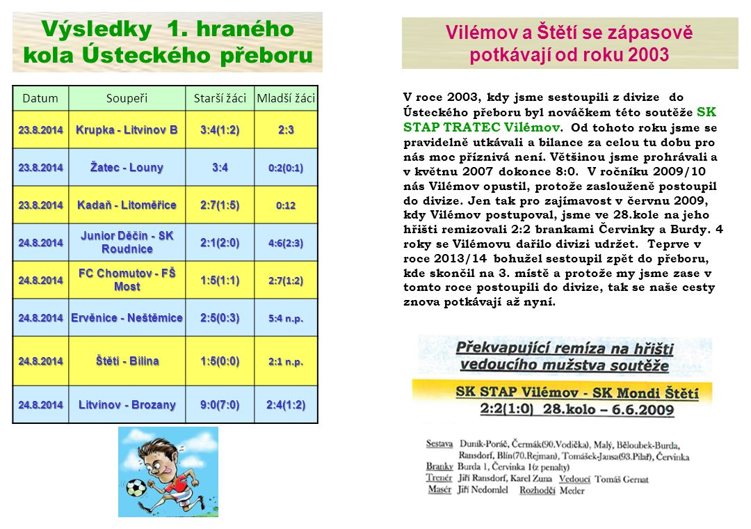 SK STAP TRATEC Vilémov – FK Chmel Blšany 3.kolo 27.8.2014 SK Štětí – FK Bílina 2:1(0:1) n.p.