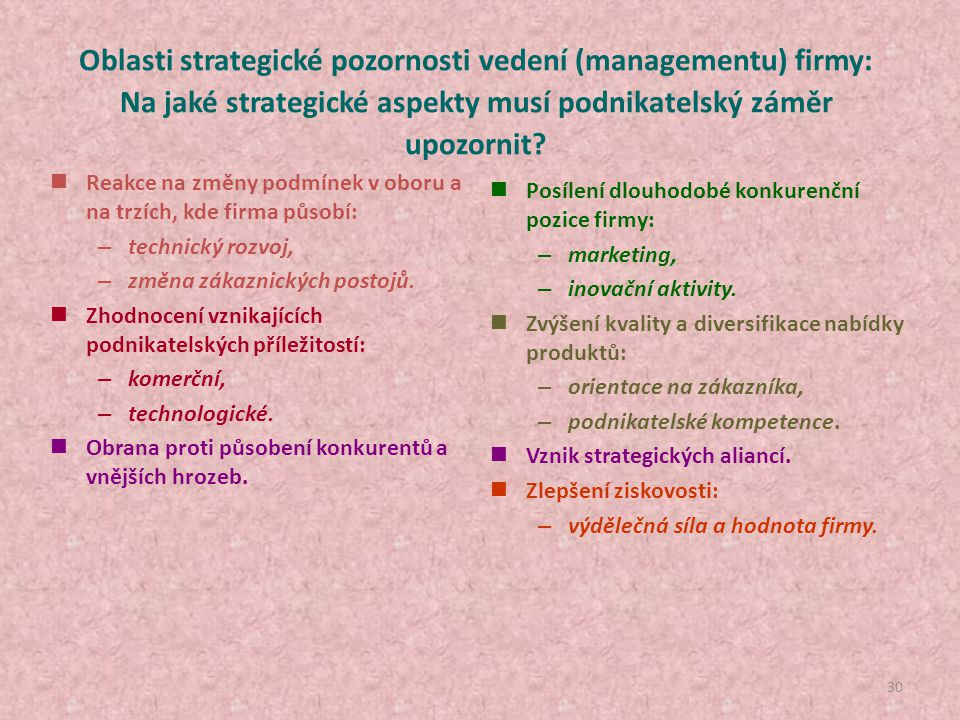29 Příležitost vzniká v okolí firmy, o jejím úspěšném využití se však rozhoduje uvnitř firmy! Vznik podnikatelské příležitosti a podmínky její dosažit