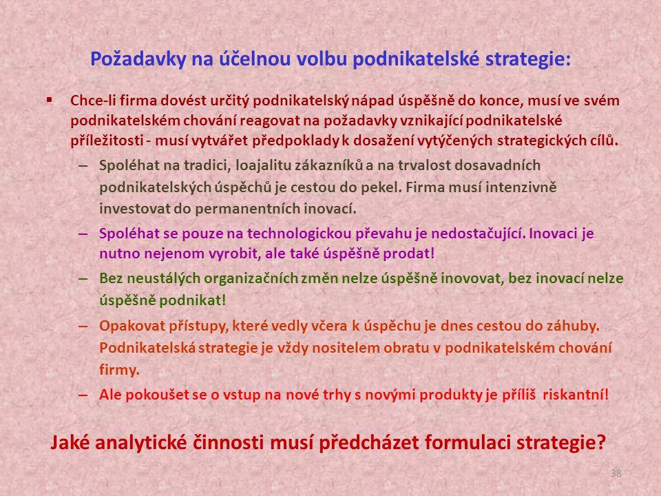 37 Základní strategické cíle organizace: obchodně-finanční (zisk, podíl na trhu) další rozvoj organizace orientace na zákazníky péče o vlastní pracovn