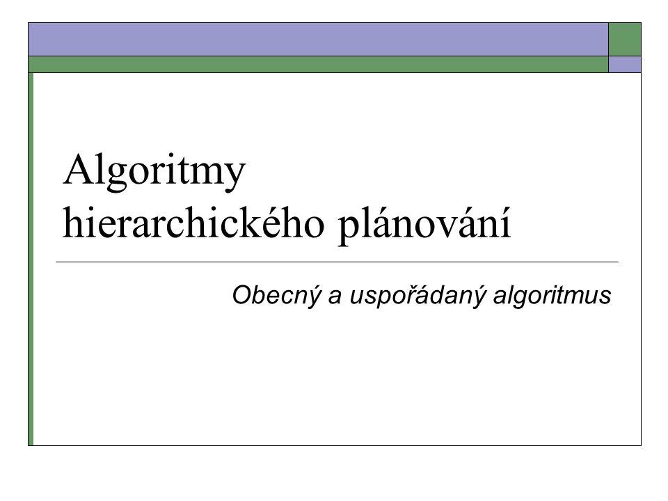 Algoritmy hierarchického plánování Obecný a uspořádaný algoritmus