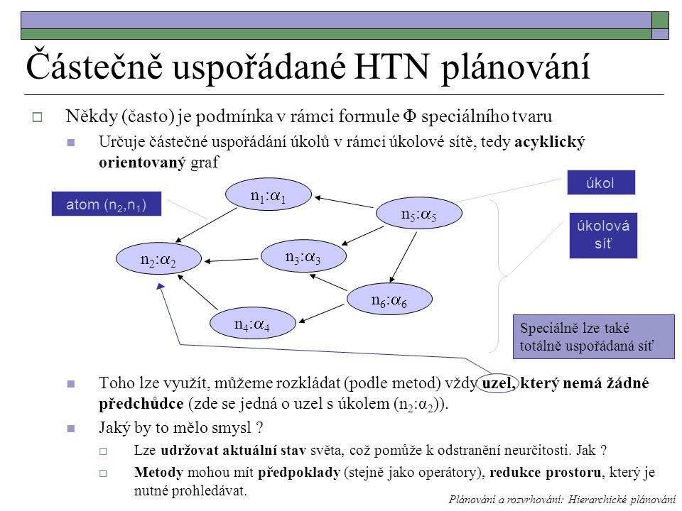  Někdy (často) je podmínka v rámci formule Φ speciálního tvaru Určuje částečné uspořádání úkolů v rámci úkolové sítě, tedy acyklický orientovaný graf