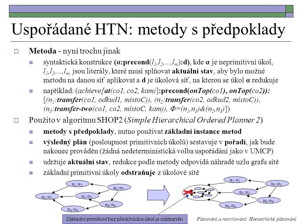 Uspořádané HTN: metody s předpoklady  Metoda - nyní trochu jinak syntaktická konstrukce (α:precond(l 1,l 2,...,l m ):d), kde α je neprimitivní úkol, l 1,l 2,...,l m jsou literály, které musí splňovat aktuální stav, aby bylo možné metodu na danou síť aplikovat a d je úkolová síť, na kterou se úkol α redukuje například: (achieve[at(co1, co2, kam)]:precond(onTop(co1), onTop(co2)): [(n 1 :transfer(co1, odkud1, místoC)), (n 2 :transfer(co2, odkud2, místoC)), (n 3 :transfer-two(co1, co2, místoC, kam)), Φ=(n 1,n 3 )&(n 2,n 3 )])  Použito v algoritmu SHOP2 (Simple Hierarchical Ordered Planner 2) metody s předpoklady, nutno používat základní instance metod výsledný plán (posloupnost primitivních úkolů) sestavuje v pořadí, jak bude nakonec prováděn (žádná nedeterministická volba uspořádání jako v UMCP) udržuje aktuální stav, redukce podle metody odpovídá náhradě uzlu grafu sítě základní primitivní úkoly odstraňuje z úkolové sítě Plánování a rozvrhování: Hierarchické plánování n2:2n2:2 n1:1n1:1 n4:4n4:4 n3:3n3:3 n5:5n5:5 n6:6n6:6 n1:1n1:1 n4:4n4:4 n3:3n3:3 n5:5n5:5 n6:6n6:6 Základní primitivní bez předchůdce úkol je odstraněn