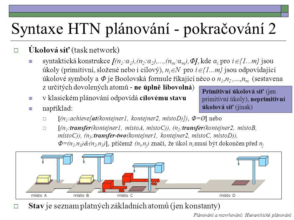 Syntaxe HTN plánování - pokračování 2  Úkolová síť (task network) syntaktická konstrukce [(n 1 :α 1 ),(n 2 :α 2 ),...,(n m :α m ),Φ], kde α i pro i  {1...m} jsou úkoly (primitivní, složené nebo i cílový), n i  N pro i  {1...m} jsou odpovídající úkolové symboly a Φ je Boolovská formule říkající něco o n 1,n 2,...,n m (sestavena z určitých dovolených atomů - ne úplně libovolná) v klasickém plánování odpovídá cílovému stavu například:  [(n 1 :achieve[at(kontejner1, kontejner2, místoD)]), Φ=Ø] nebo  [(n 1 :transfer(kontejner1, místoA, místoC)), (n 2 :transfer(kontejner2, místoB, místoC)), (n 3 :transfer-two(kontejner1, kontejner2, místoC, místoD)), Φ=(n 1,n 3 )&(n 2,n 3 )], přičemž (n i,n j ) značí, že úkol n i musí být dokončen před n j  Stav je seznam platných základních atomů (jen konstanty) Plánování a rozvrhování: Hierarchické plánování místo Bmísto Cmísto A 1 2 místo D Primitivní úkolová síť (jen primitivní úkoly), neprimitivní úkolová síť (jinak)