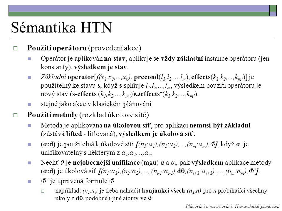 Sémantika HTN  Použití operátoru (provedení akce) Operátor je aplikován na stav, aplikuje se vždy základní instance operátoru (jen konstanty), výsledkem je stav.