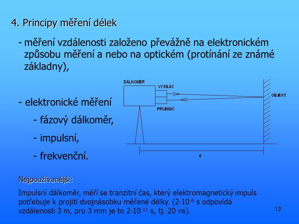 13 4. Principy měření délek -měření vzdálenosti založeno převážně na elektronickém způsobu měření a nebo na optickém (protínání ze známé základny), -
