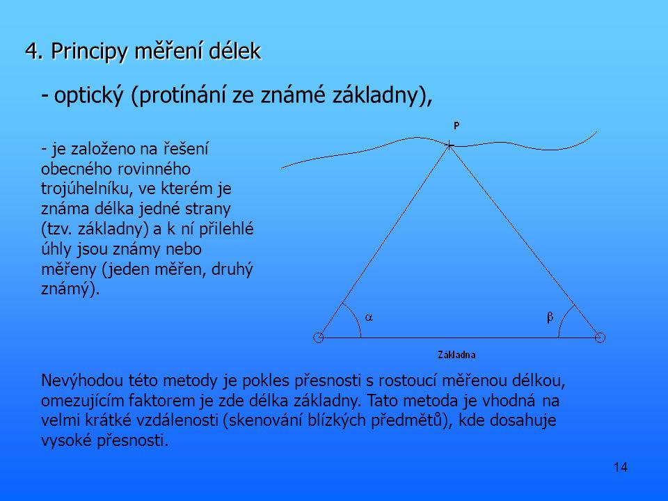 14 4. Principy měření délek -optický (protínání ze známé základny), Nevýhodou této metody je pokles přesnosti s rostoucí měřenou délkou, omezujícím fa