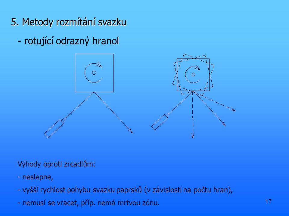 17 5. Metody rozmítání svazku - rotující odrazný hranol Výhody oproti zrcadlům: - neslepne, - vyšší rychlost pohybu svazku paprsků (v závislosti na po